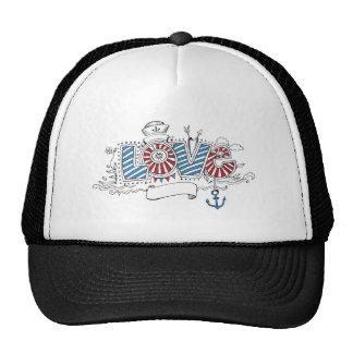 Nautical Sailor Love Doodle Drawing Trucker Hat