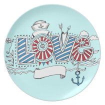 Nautical Sailor Love Doodle Plate