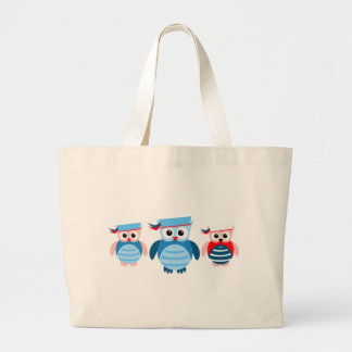 Nautical Sailor Owls Tote Bags