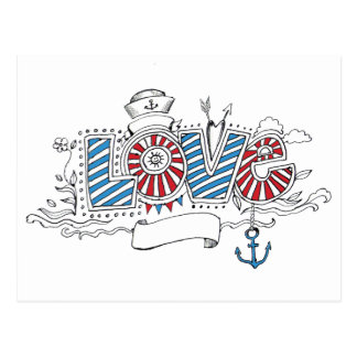 Nautical Sailor Retro Love Postcard
