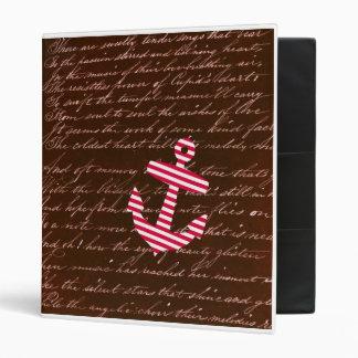 Nautical Sailor Stripe Red Anchor binder