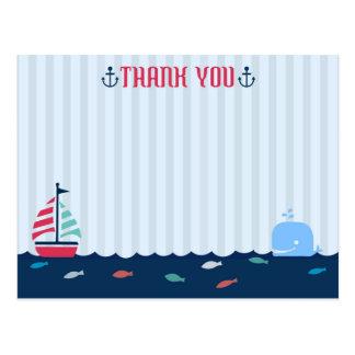 Nautical/Sailor Theme Blank Thank You Postcard