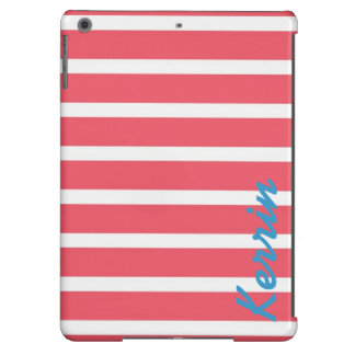 Nautical Salmon Red Stripes (Custom Name!) Cover For iPad Air