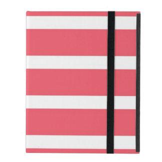Nautical Salmon Red Stripes iPad Case