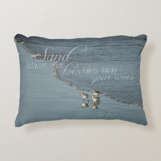 Nautical Sand Between Your Toes Beach Quote Accent Pillow