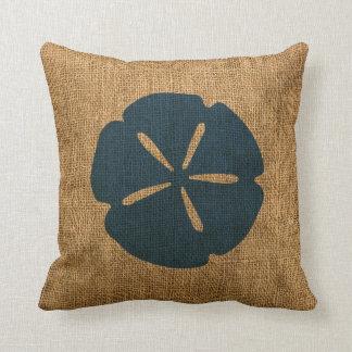 Nautical Sand Dollar Rustic Deep Sea Blue Throw Pillow