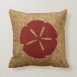 Nautical Sand Dollar Rustic Red Pillow