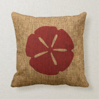 Nautical Sand Dollar Rustic Red Throw Pillow