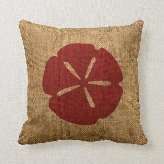 Nautical Sand Dollar Rustic Red Throw Pillow