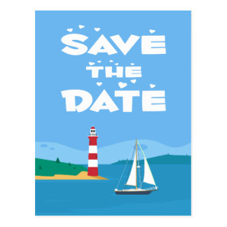Nautical  Save The Date Blue Lighthouse Sailboat Postcard