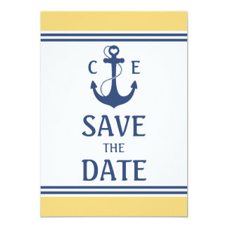 "Nautical Save the Date 5"" X 7"" Invitation Card"
