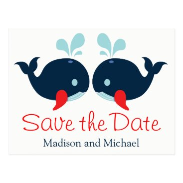 Beach Themed Nautical Save The Date Navy Red Whales Wedding Postcard