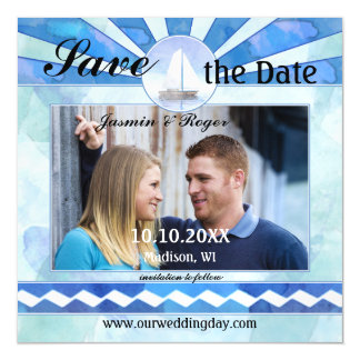Nautical Save the Date Photo Thin Magnetic Card Magnetic Invitations