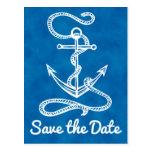 Nautical Save the Date Ship Anchor Blue Wedding Postcard
