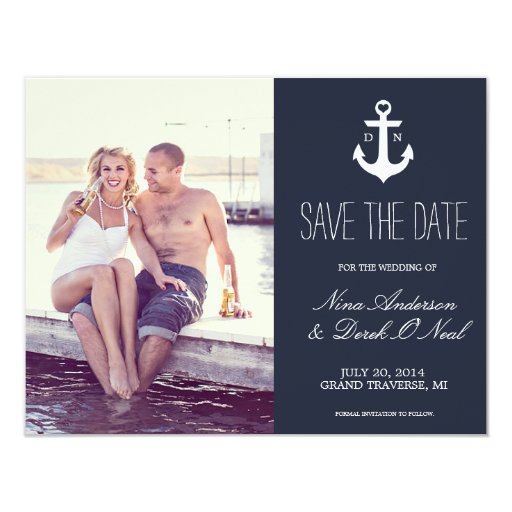 Nautical Save The Date Wedding 4.25x5.5 Paper Invitation Card
