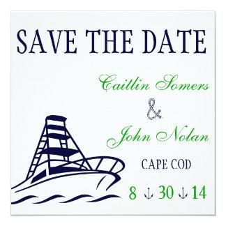 Nautical Save the Date Wedding 5.25x5.25 Square Paper Invitation Card