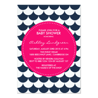 "Nautical Scallop Pattern Baby Shower Invitation 5"" X 7"" Invitation Card"