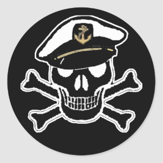 Nautical Scull and Crossbones Round Sticker