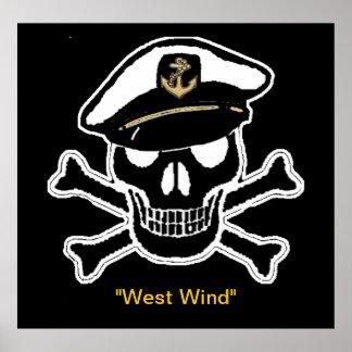 Nautical Scull & Crossbones Poster