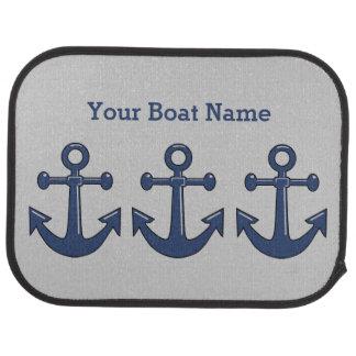 Nautical Sea Blue Boat Anchor Custom Ship Name Car Mat