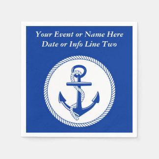 Nautical Sea Blue Boat Anchor Roping Custom #2 Paper Napkin