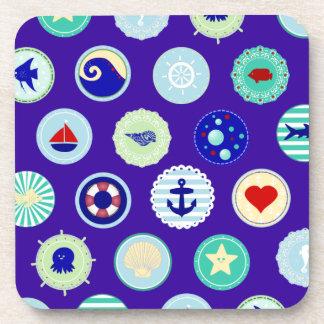 Nautical Sea Blue Sailor Pattern Beverage Coaster