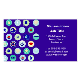 Nautical Sea Blue Sailor Pattern Business Card Template