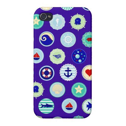 Nautical Sea Blue Sailor Pattern iPhone 4/4S Cases