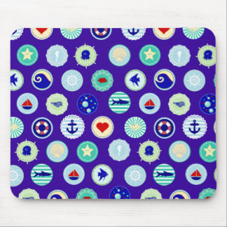 Nautical Sea Blue Sailor Pattern Mouse Pad
