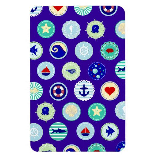 Nautical Sea Blue Sailor Pattern Rectangle Magnets