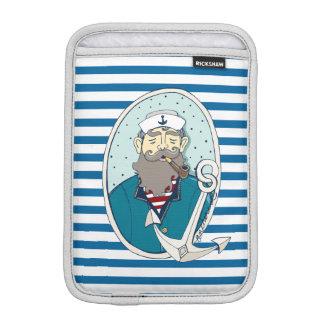 Nautical Sea Captain Blue and White Stripe iPad Mini Sleeves