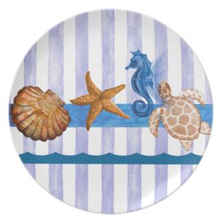 Nautical Sea Creatures Dinner Plate