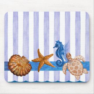 Nautical Sea Creatures Mouse Pad