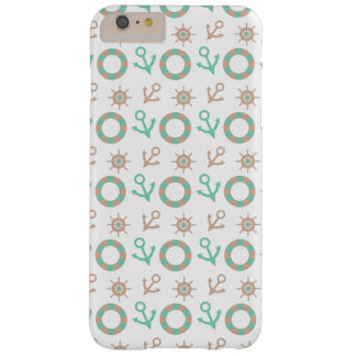 Nautical Sea Green And Tan Anchor Pattern Barely There iPhone 6 Plus Case