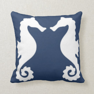 Nautical Sea Horses Throw Pillow