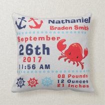 Nautical Sea Ocean Happy Crab Anchor Birth Stats Throw Pillow