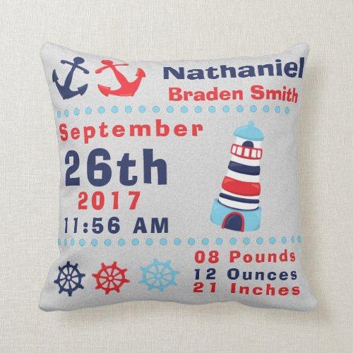 Nautical Sea Ocean Lighthouse Anchor Birth Stats Throw Pillow