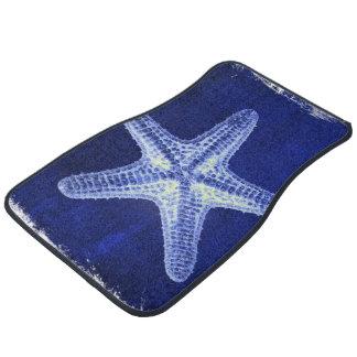 nautical sea shells beach blue starfish floor mat