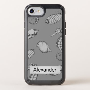 Nautical Sea Shells Personalized  Grey Speck iPhone Case