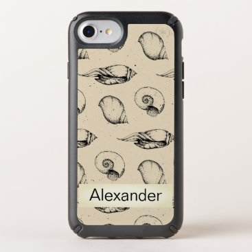 Nautical Sea Shells Personalized  Tan Speck iPhone Case
