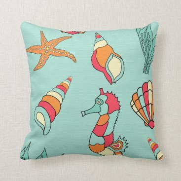 Beach Themed NAUTICAL SEA SHELLS THROW PILLOW