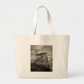 Nautical Sea Shore landscape Rustic sailboat Large Tote Bag