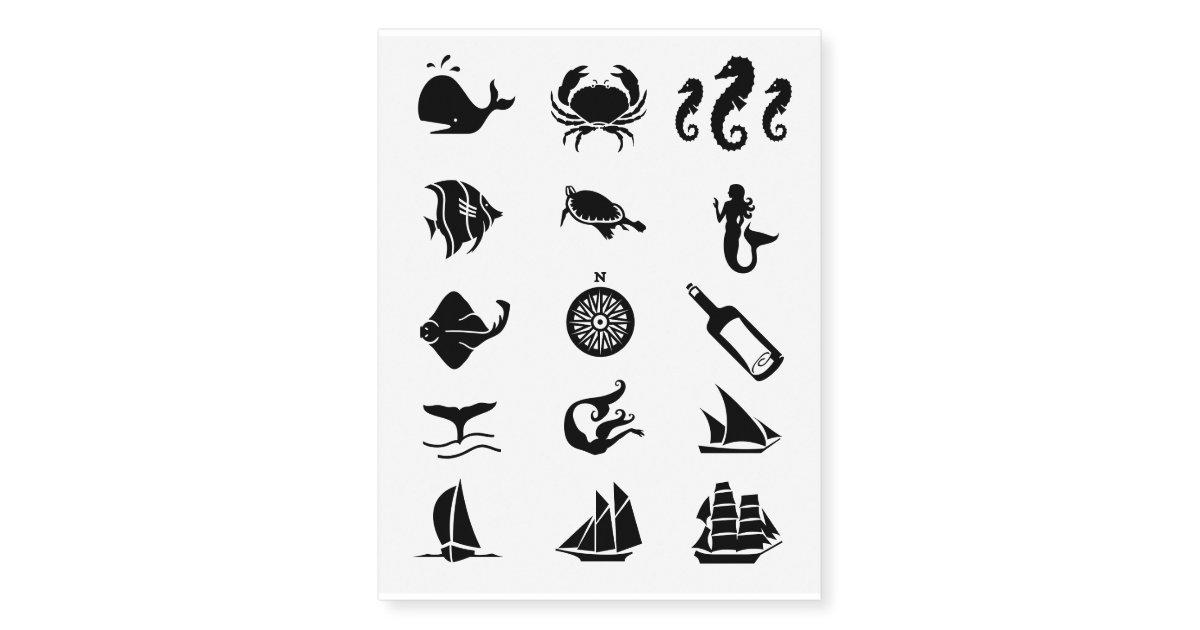 Nautical Sea Symbols Temporary Tattoos Zazzle