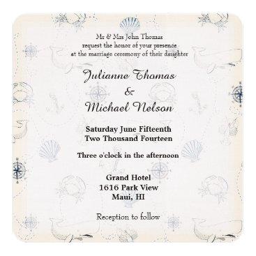 Beach Themed Nautical Sea Wedding Card