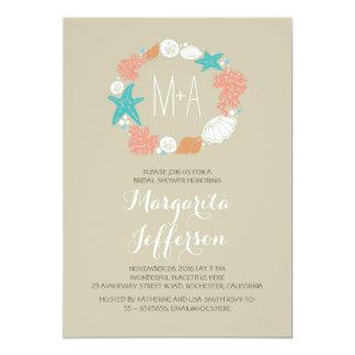 nautical sea wreath beach bridal shower invites
