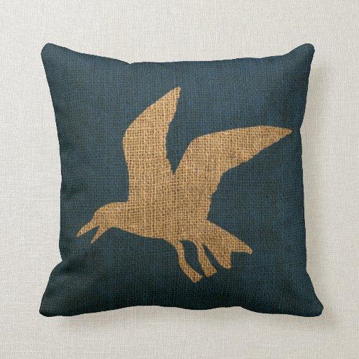 Deep Blue Throw Pillows : Nautical Seagulls Deep Sea Blue Throw Pillow Zazzle