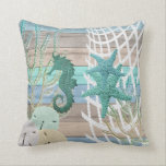 """Nautical Seahorse Beach Design Throw Pillow<br><div class=""""desc"""">Pillow. Featured in a Nautical Seahorse Beach Design with a blue, teal and tan faux wood background. ⭐99% of my designs in my store are done in layers. This makes it easy for you to resize and move the graphics and text around so that it will fit each product perfectly....</div>"""