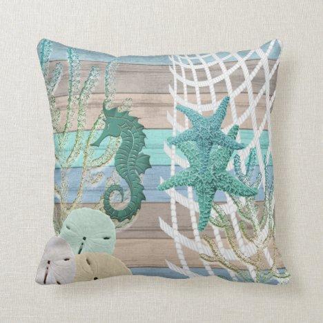 Nautical Seahorse Beach Design Throw Pillow