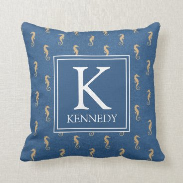 Beach Themed Nautical Seahorse Monogram Throw Pillow