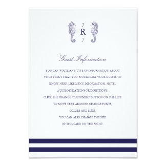 Nautical Seahorse Monogram Wedding Insert Custom Invitation